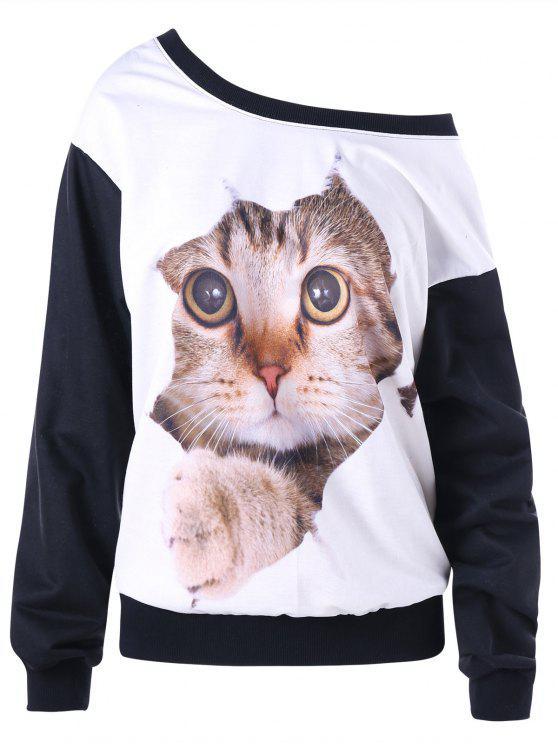 ladies Skew Neck Color Block 3D Cat Print Sweatshirt - WHITE AND BLACK M