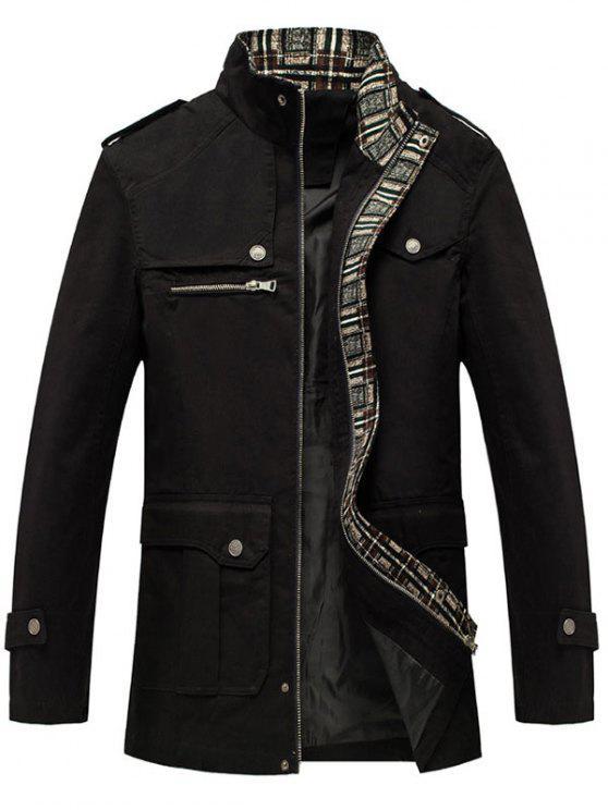 chic Zip Up Epaulet Design Flap Pocket Jacket - BLACK 2XL