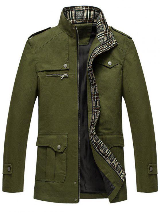سترة زيب أوب تصميم الكتفية رفرف جيب - الجيش الأخضر XL