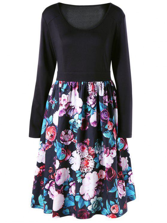 فستان متزلج طباعة الأزهار الحجم الكبير - أسود 4XL