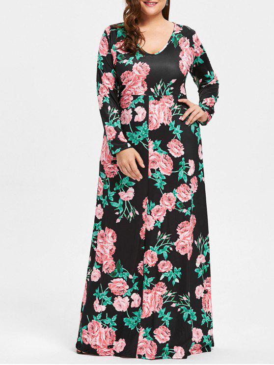 فستان الحجم الكبير غارق الرقبة - أسود 5XL
