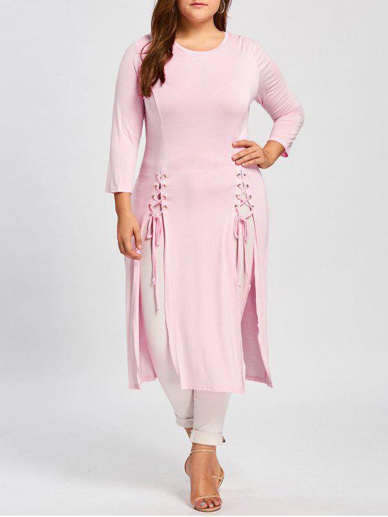 فستان الحجم الكبير رباط ماكسي - زهري 5XL