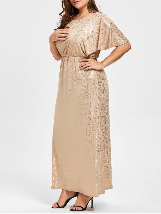 فستان الحجم الكبير طويل - ذهبي 4XL