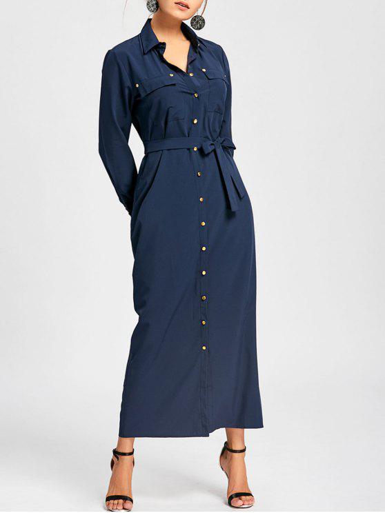 22fdc3e66f 35% OFF] 2019 Button Down Pocket Maxi Shirt Dress In PURPLISH BLUE ...
