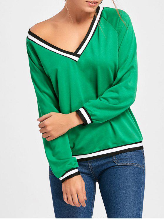 Contraste V Neck manga comprida Top - GREEN XL