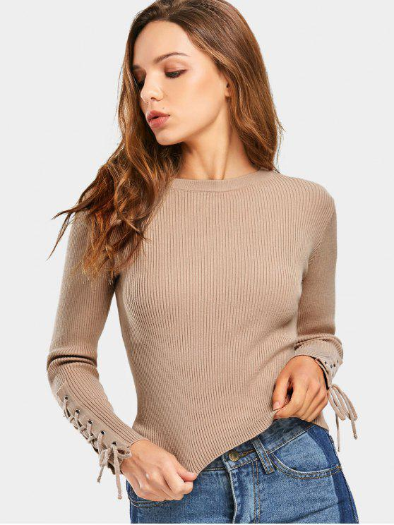 38e5f80e0a 24% OFF  2019 Lace Up Sleeve Ribbed Sweater In KHAKI ONE SIZE