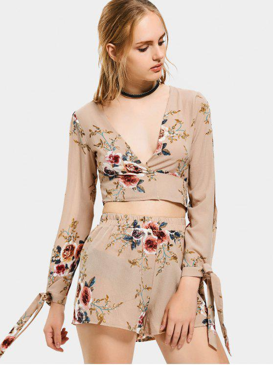 c830394a659b0b 29% OFF  2019 Floral Print Crop Top And Shorts Set In KHAKI