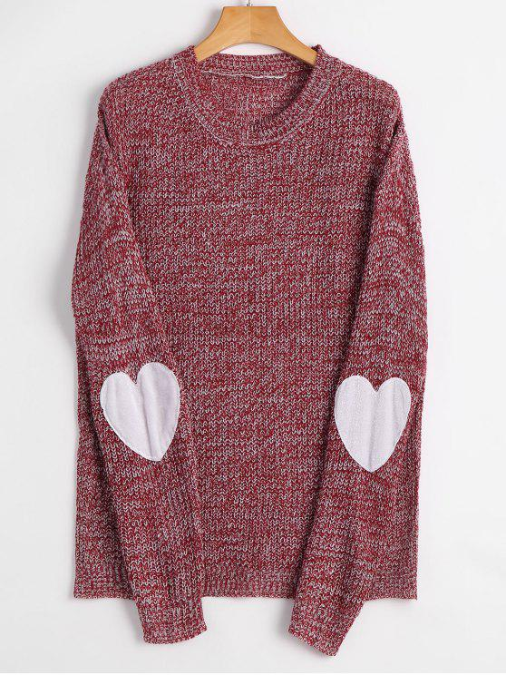 affordable Heart Elbow Patch Pullover Sweater - CLARET L
