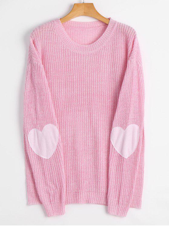 affordable Heart Elbow Patch Pullover Sweater - LIGHT PINK M