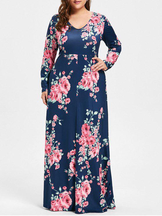 2570720abb8 35% OFF  2019 Plus Size Rose Print V Neck Maxi Dress In PURPLISH ...