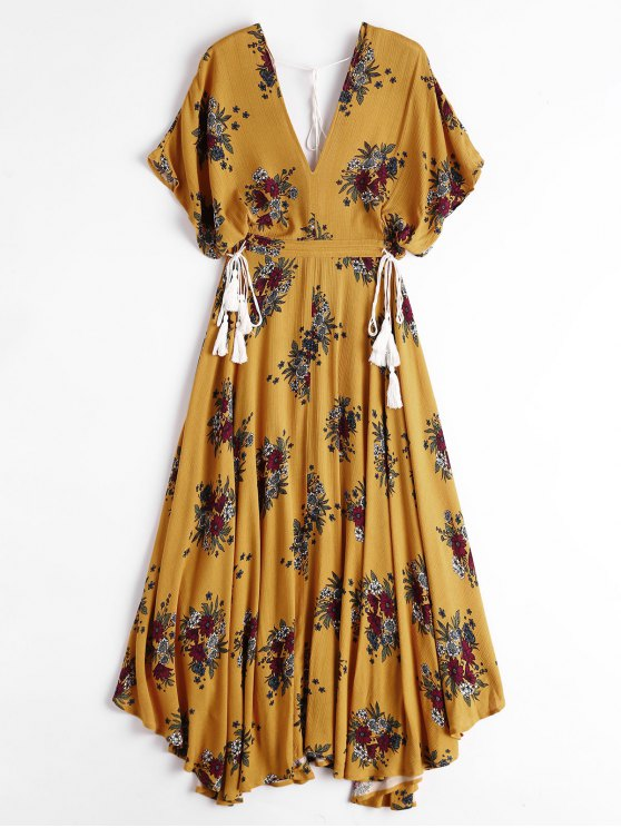 chic Batwing Floral Cut Out Midi Dress - YELLOW M