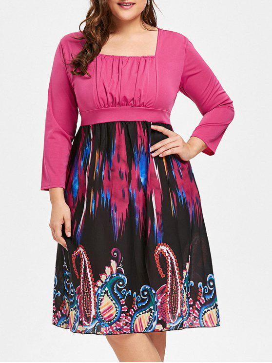 فستان مزين بطبعة قبلية ذو ياقة مربعة - وردة حمراء 2XL