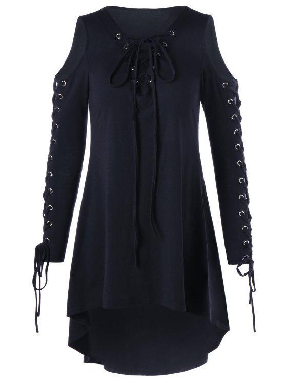 فستان الحجم الكبير باردة الكتف - أسود 4XL