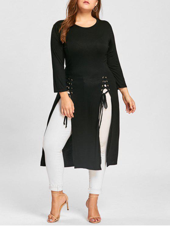 فستان الحجم الكبير رباط ماكسي - أسود 4XL