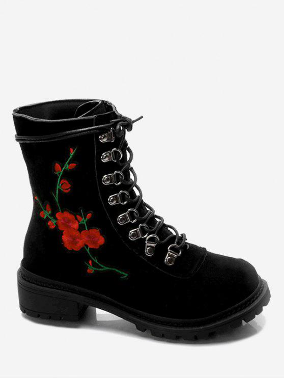 women Metal Floral Embroidery Chunky Heel Ankle Boots - BLACK 35