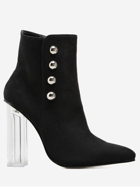 Chunky Heel Transparent Stud Ankle Boots - Noir 38