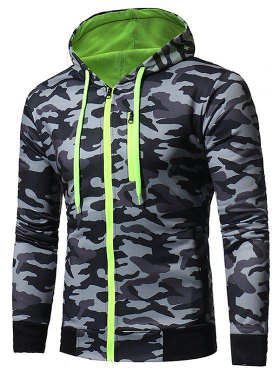 women's Hooded Color Block Zip Up Camouflage Fleece Hoodie - GRAY XL
