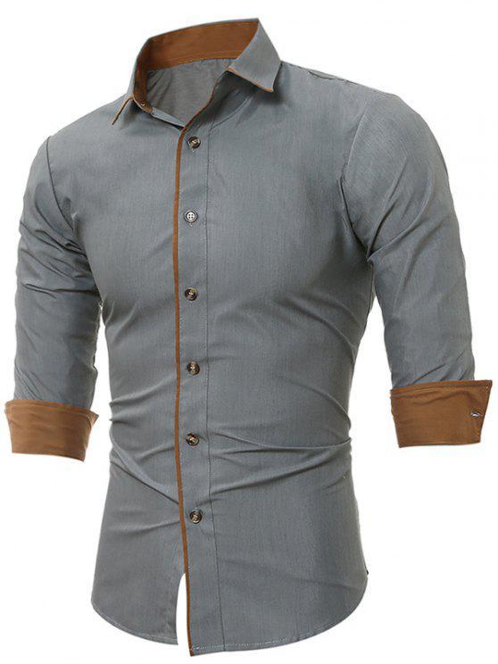 Camicia Con Bordi A Blocchi Di Colore Con Risvolto - Grigio M