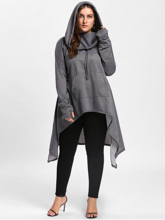 women Plus Size Funnel Collar Maxi Asymmetric Hoodie - DEEP GRAY 5XL