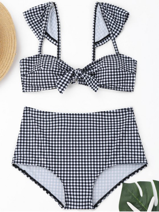 Plaid Front Tied hoch taillierte Bikini - Plaid M