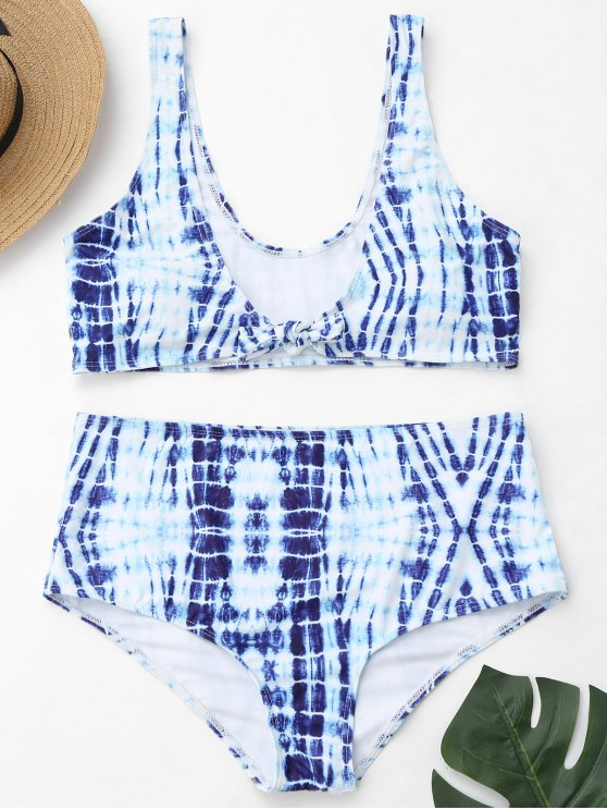 outfit Plus Size Tie-Dyed High Waisted Bikini - BLUE AND WHITE XL
