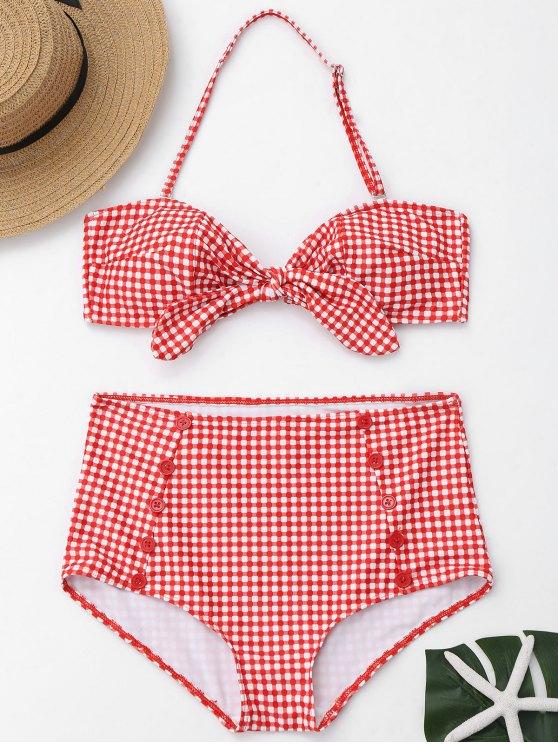 Knopf Karierter Vorder Riemchen Hoch Taillierter Bikini - Rot und Weiß L