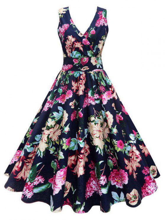 プラスサイズの花柄のヴィンテージドレスドレス - 花 4XL