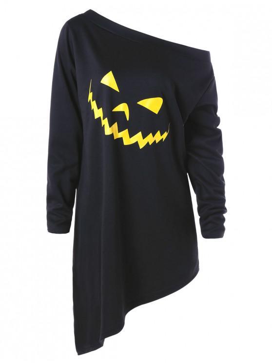 sale Halloween Plus Size Asymmetric Graphic Pullover Sweatshirt - BLACK 2XL