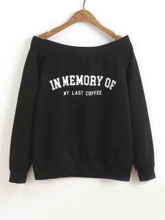 Letter Off Shoulder Sweatshirt - Black L
