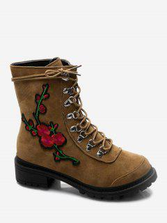Metal Floral Embroidery Chunky Heel Ankle Boots - Brown 36