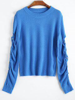 Knitted Cutout Sweater - Blue S