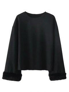 Drop Shoulder Fuzzy Sleeve Sweatshirt - Black Xs