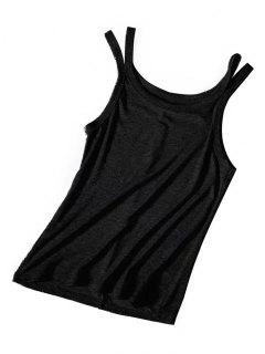 Knitted Cutout Tank Top - Black