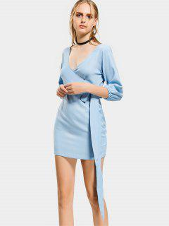 Plunging Neck Mini Fitted Dress - Light Blue S