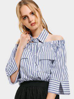 Shirt Collar Button Up Striped Pockets Blouse - Deep Blue