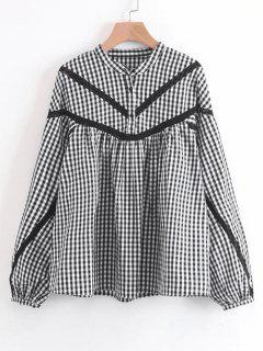 Half Buttoned Checked Lace Trim Blouse - Checked M