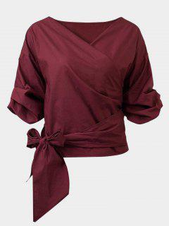 Belted Off Shoulder Blouse - Wine Red Xl