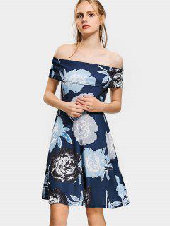 Floral Print Off The Shoulder Flare Dress - Cadetblue L