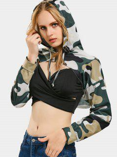 Cut Out Camouflage Crop Hoodie - Army Green Camouflage M