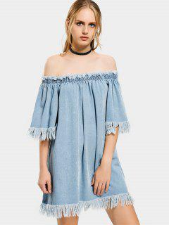 Off The Shoulder Frayed Hem Denim Dress - Denim Blue