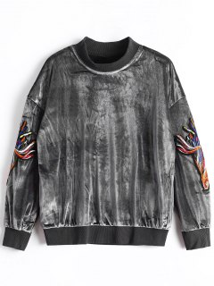 Mock Neck Applique Velvet Sweatshirt - Gray S