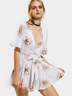 Plunging Neck Flower Wide Leg Romper - Floral M