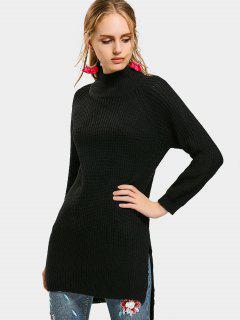 High Neck Side Slit High Low Sweater - Black