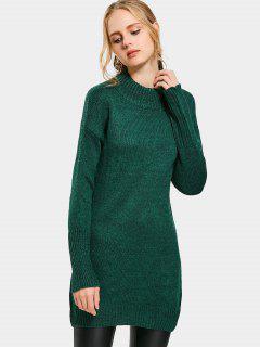 High Neck Drop Shoulder Long Sweater - Green