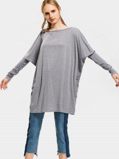 Dolman Sleeve Oversized Knitted Top - Gray M