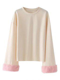 Drop Shoulder Fuzzy Sleeve Sweatshirt - Light Apricot Xs