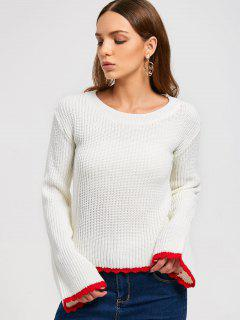 Two Tone Pullover Sweater - White