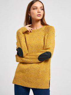 Elbow Patch Back Buttons Colormix Sweater - Ginger