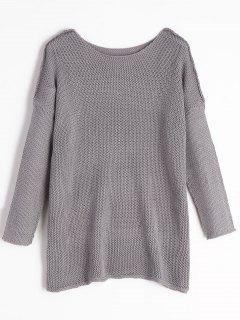 Loose Fit Pullover Tunic Sweater - Gray M