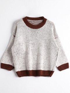 Crew Neck Chunky Sweater - Grey White